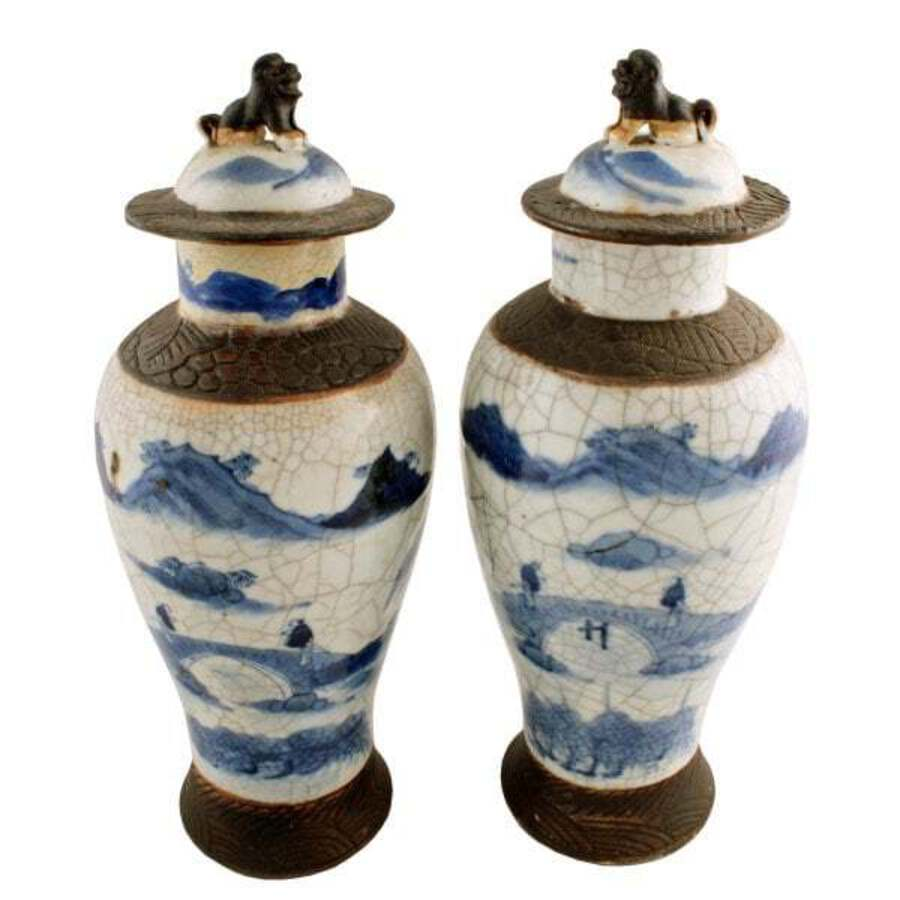 Antique Pair of Chinese Crackle Ware Vases