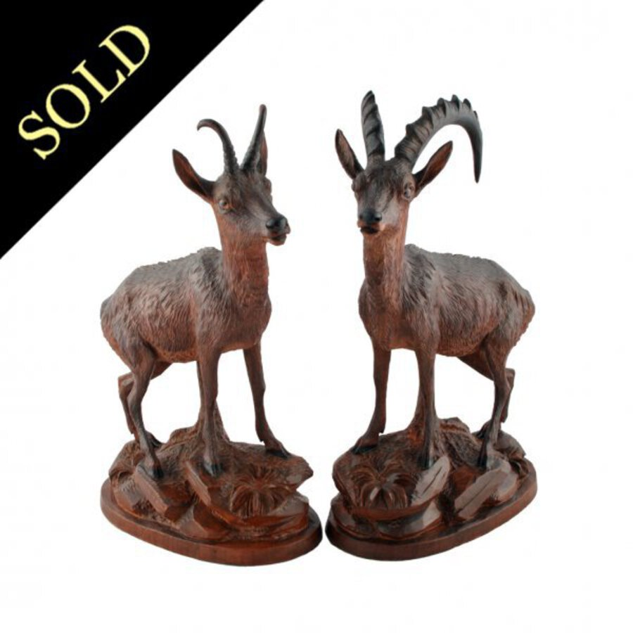 Pair of Carved Wood Antelope
