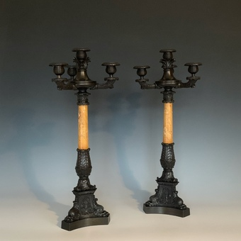 Antique Pair of French Restauration Period Bronze & Sienna Marble Candelabra