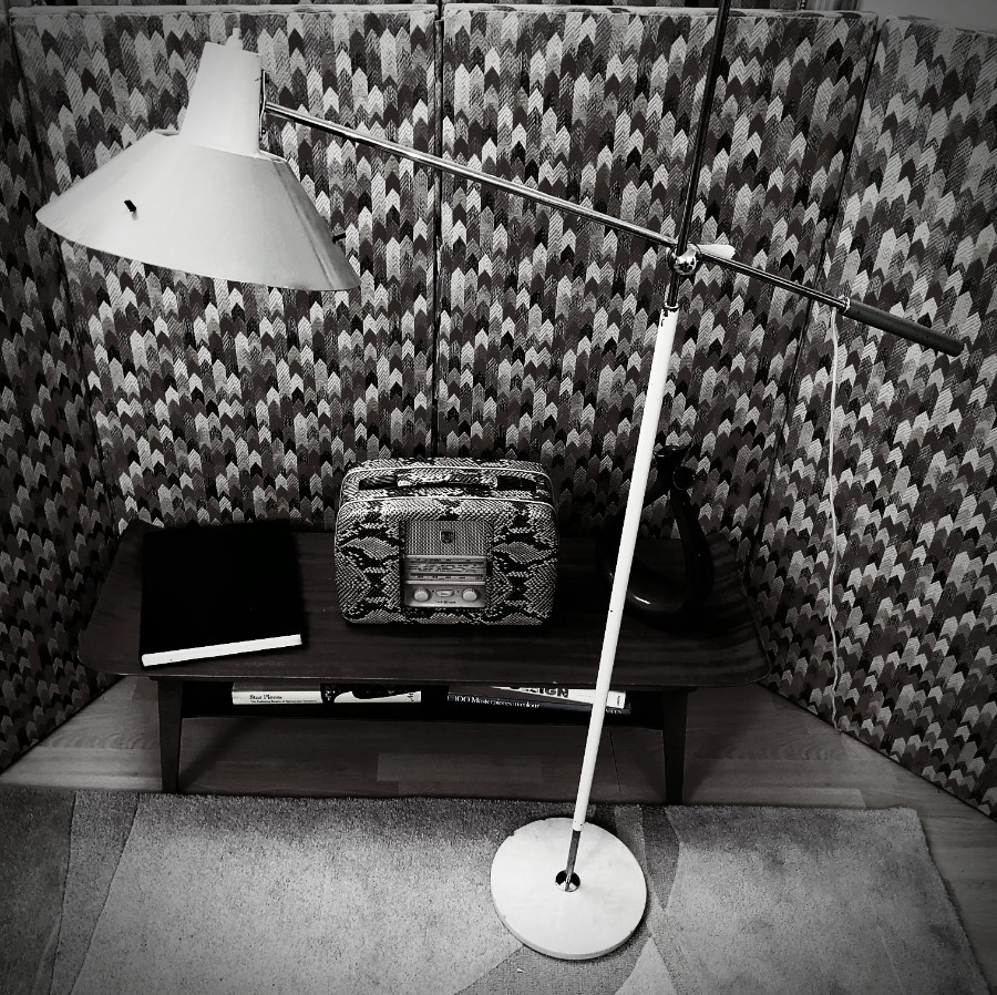 Early 1950s STILUX Milano - articulating floor lamp painted white/green aluminium / chrome - adjustable mechanism.