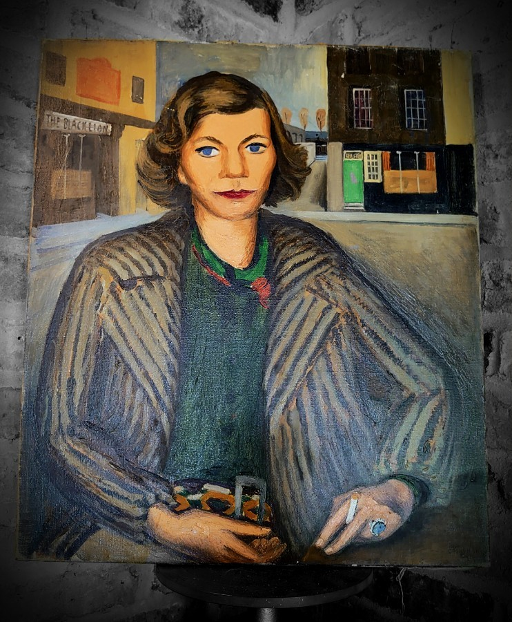 HUGH CRONYN 1937 oil on canvas portrait of NORAH MCGUINNESS by the BLACK LION pub Hammersmith