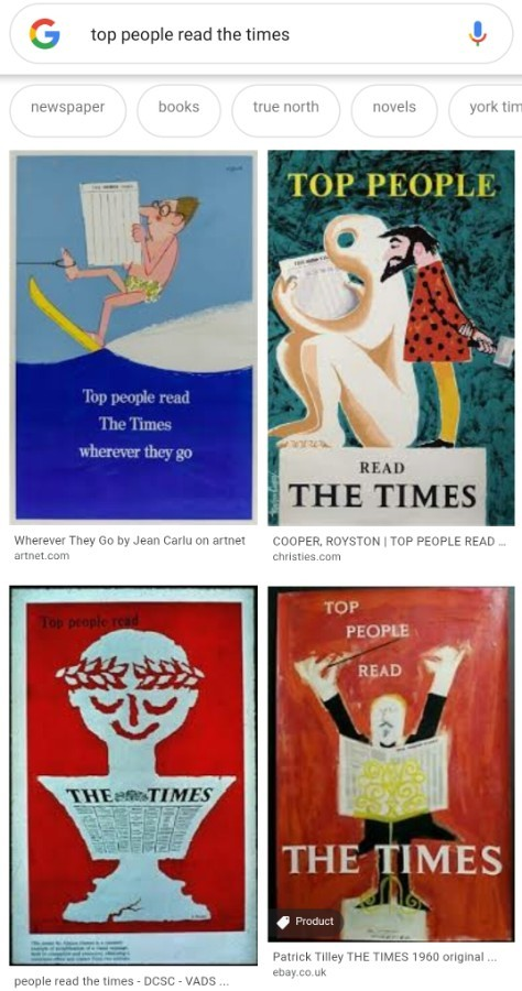 Patrick Tilley - THE TIMES 1960 original poster artwork 'TOP PEOPLE READ THE TIMES'