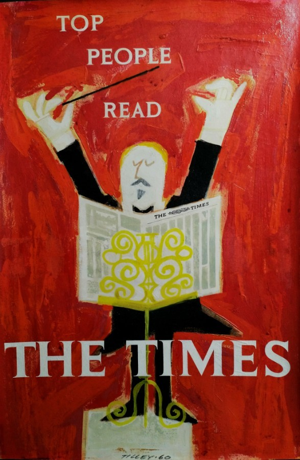 THE TIMES 1960 original oil & acrylic poster artwork 'TOP PEOPLE READ THE TIMES' by Patrick Tille...