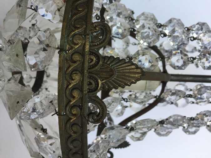 Antique Italian Bronze and Crystal Antique Chandelier