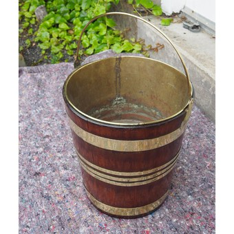 Antique SUPER 18th CENTURY BRASS BOUND BUCKET