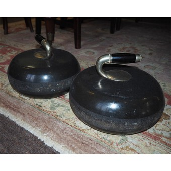 Antique Superb Pair of Scottish Granite Curling Stones