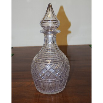Large Late Georgian Cut Glass Decanter