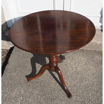 Antique 19th Century Mahogany Oval Top Tripod Table