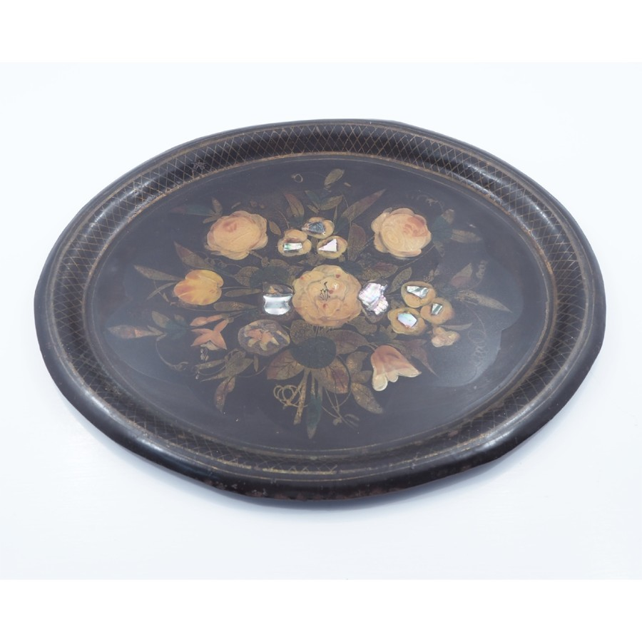 REGENCY HAND PAINTED TOLEWARE OVAL TRAY