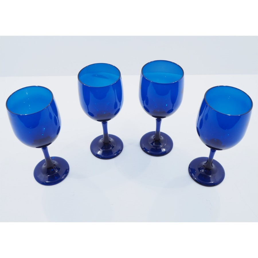 SET 4 LARGE SIZE EDWARDIAN BLUE WINE GLASSES