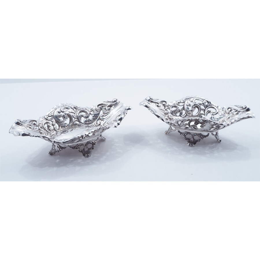 Antique FINE PAIR OF VICTORIAN SILVER DISHES