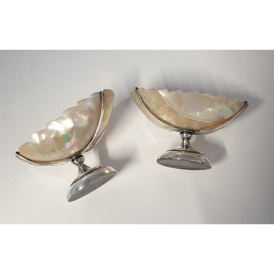 Antique UNUSUAL PAIR EDWARDIAN SILVER SALT CELLARS