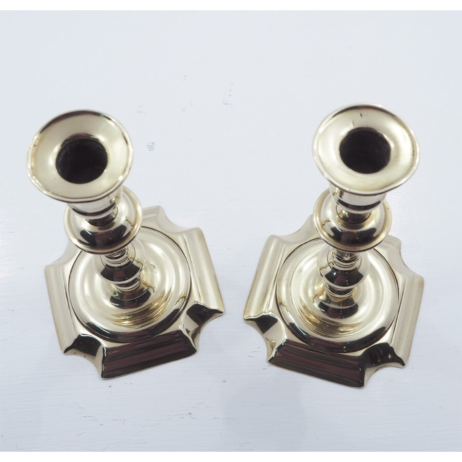 Antique PAIR OF QUEEN ANNE BRASS CANDLESTICKS