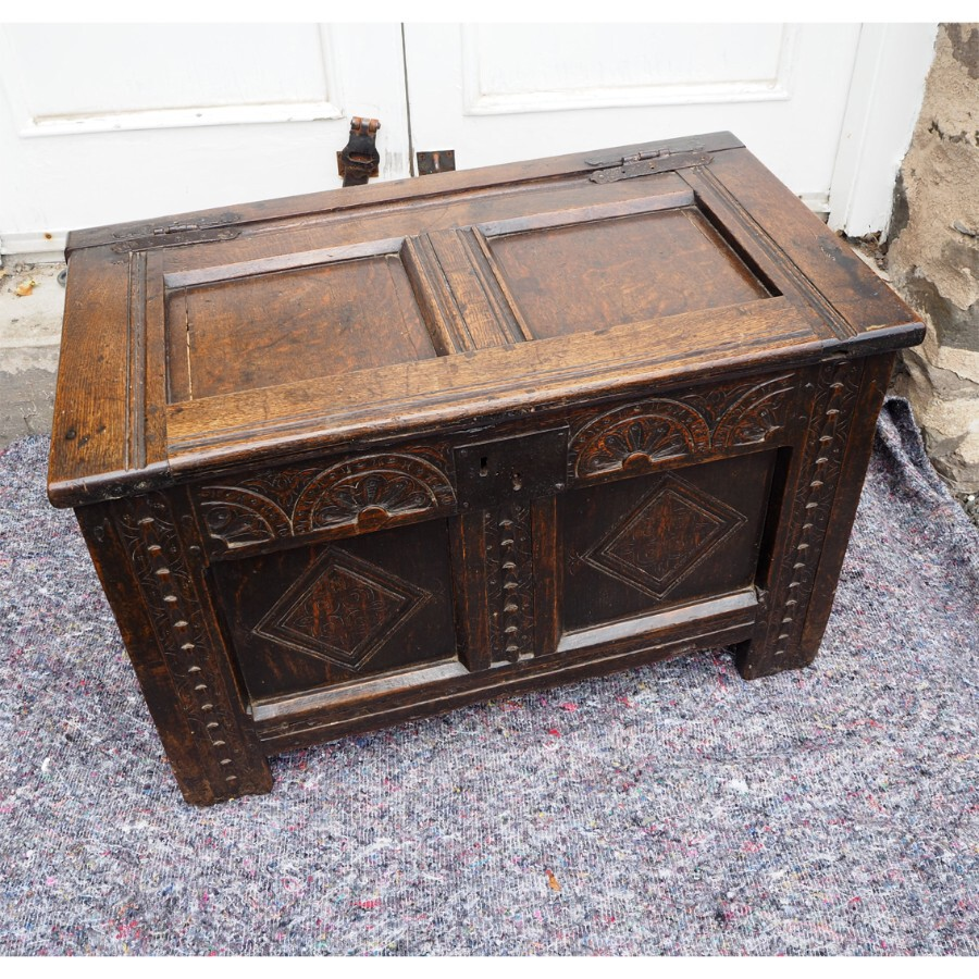 BABY SIZE 17th CENTURY CARVED OAK COFFER