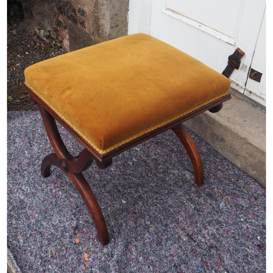 VICTORIAN ROSEWOOD X FRAME STOOL