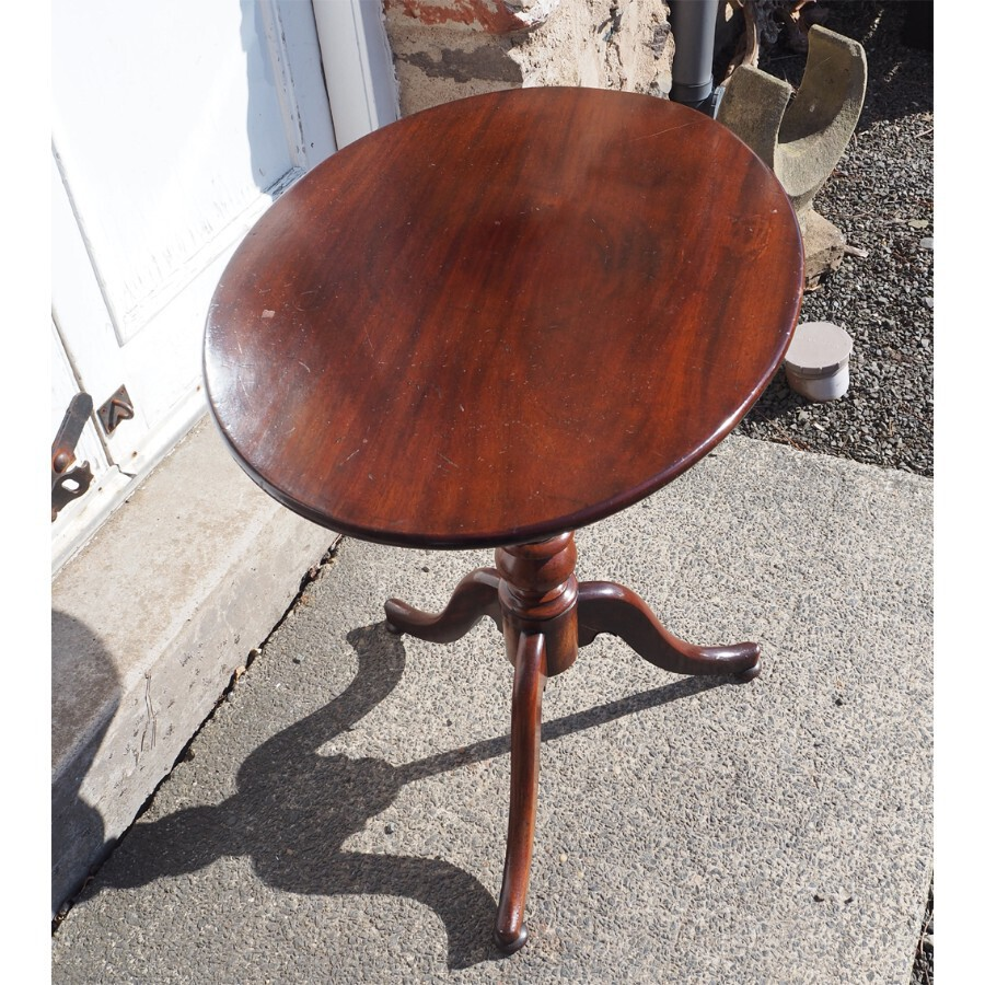 19th Century Mahogany Oval Top Tripod Table