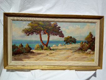 Antique Mediterranean Landscape, oil on cardboard circa 1960 signed Paul Colay-FREE UK & EU shipping