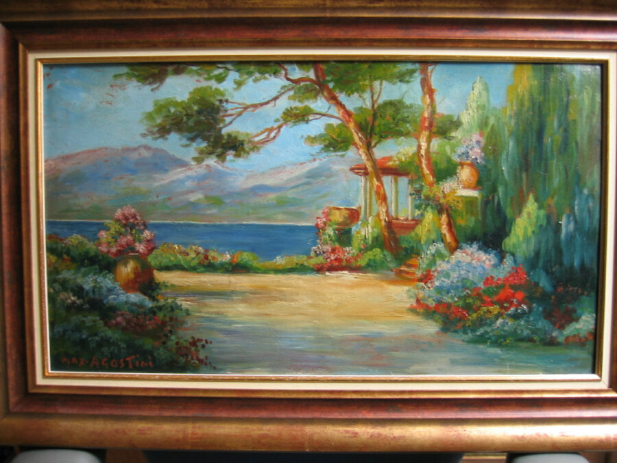 Mediteranean Landscape, oil on cardboard signed Agostini, FREE UK & EU shipping, price OBO