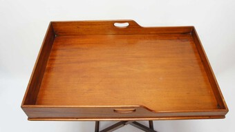 Antique Large Victorian Mahogany butlers tray & stand re-furbished good colour
