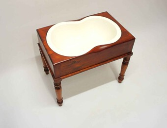 Antique Victorian bidet, side table with earlier stoneware liner