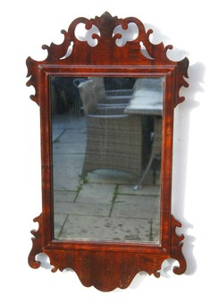 Antique Small Victorian  William & Mary style  Walnut fret mirror