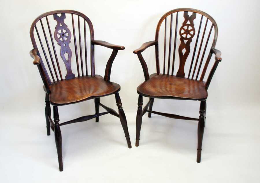 Pair Georgian Oak & Elm  Windsor armchairs