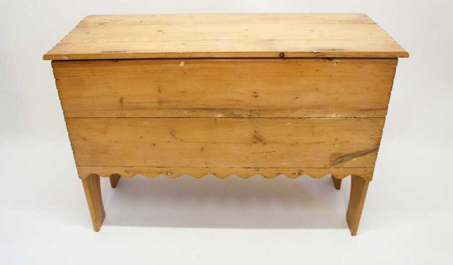 Antique 19th c  pine blanket box or chest on  stile ends