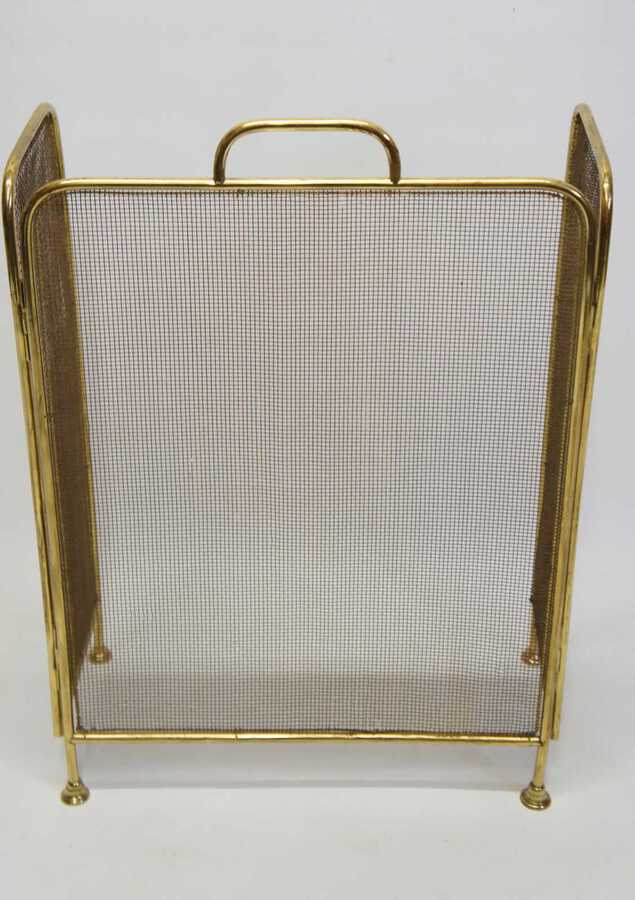 Antique Elegant Early 20th C  Brass and Wire folding fire guard/fire screen