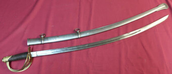 US/ AMERICAN CAVALRY SWORD WITH 34 1/2 INCH SLIGHTLY CURVED SINGLE FULLERED BLADE STAMPED USADK 1...