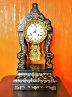 Antique 1840s Rare Antique Marti Medaille De Bronze Ebonized Ormolu Boulle Portico Clock
