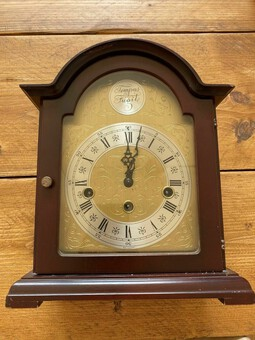 Antique Rare Franz Hermle Tempus Fugit 2 Jewel Mantle Clock (Made In Germany) #340-020