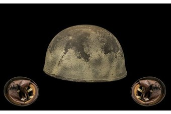 Antique WW2 World War II British Paratrooper Helmet by BMB dated 1945 with the Cross of Lorraine 'Free French' VERY RARE ITEM