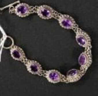 Edwardian Antique Silver and Amethyst Bracelet