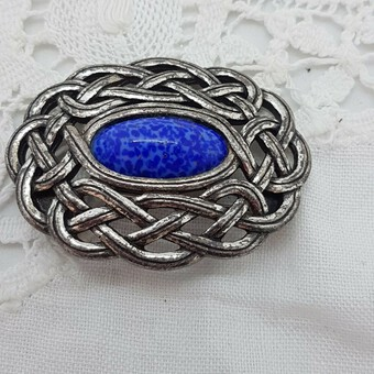 Antique Scottish Silver Agate Celtic Brooch