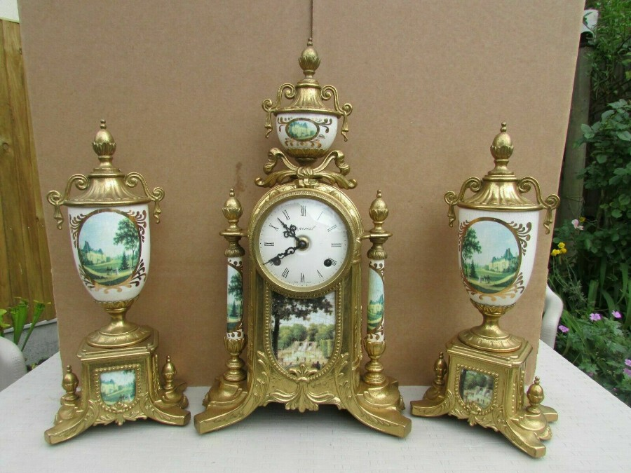 Rare Franz Hermle Imperial Ormolu Sevres Clock with Garnitures