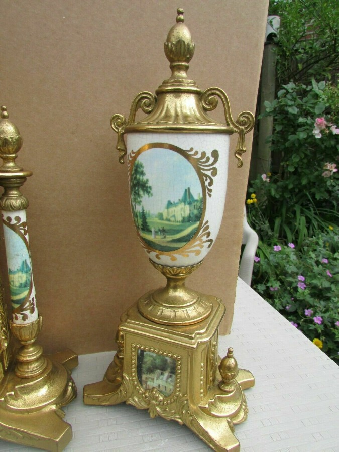 Antique Rare Franz Hermle Imperial Ormolu Sevres Clock with Garnitures