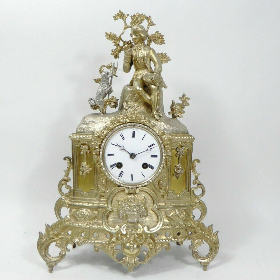 Rare 1855 Antique Japy Freres Clock Gilded Ormolu Silver Mantel Mantle Clock