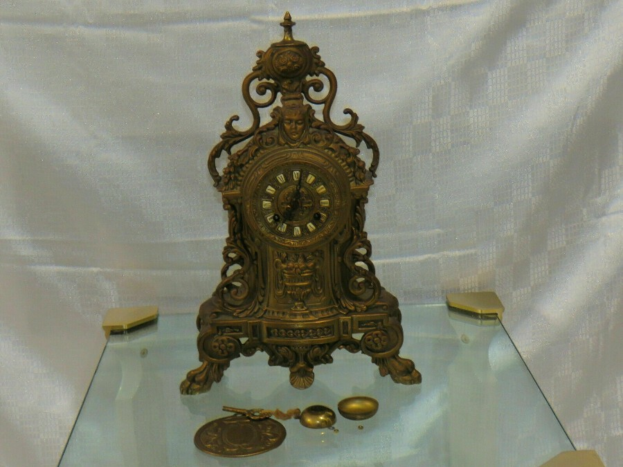 Very rare Antique Franz Hermle Imperial Vintage Ormolu Mantel Clock