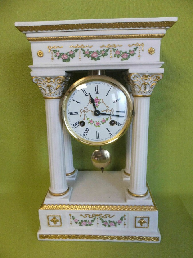 Rare PORCELAIN PORTICO MANTEL CLOCK Franklin Mint Franz Hermle Limited Edition