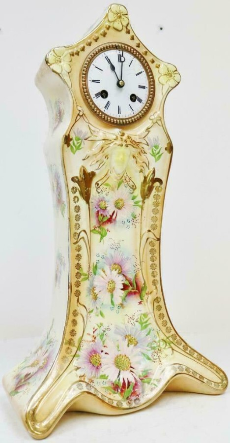 Antique Rare Antique French 8 Day Hand Painted Vintage Sevres Porcelain Mantel Clock