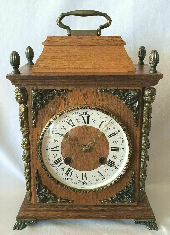 Rare Franz Hermle Mantel Clock 8 Day Bim Bams 3 Hammers with Silent Mode