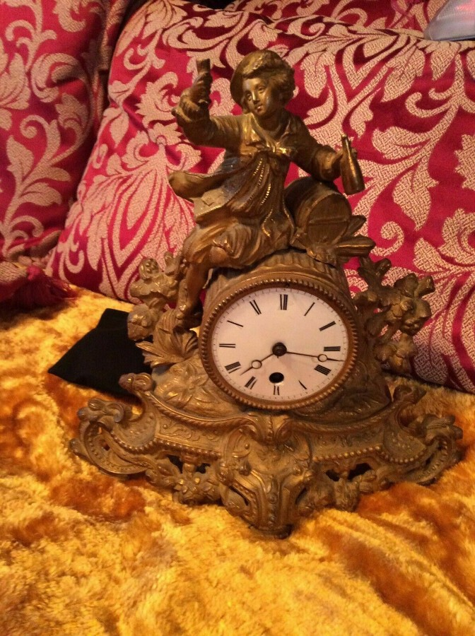 Rare Antique French Japy Freres Gilt Gilded Brass Vintage mantel clock