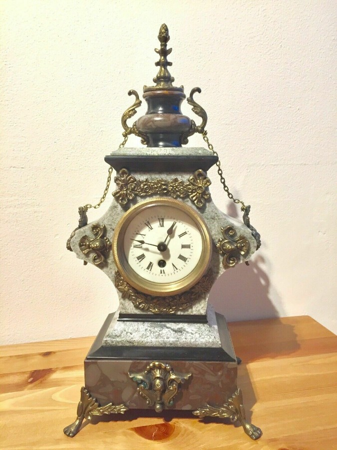 Rare Antique French Vintage Marble Granite Bronze Ornate Slate Mantel Clock