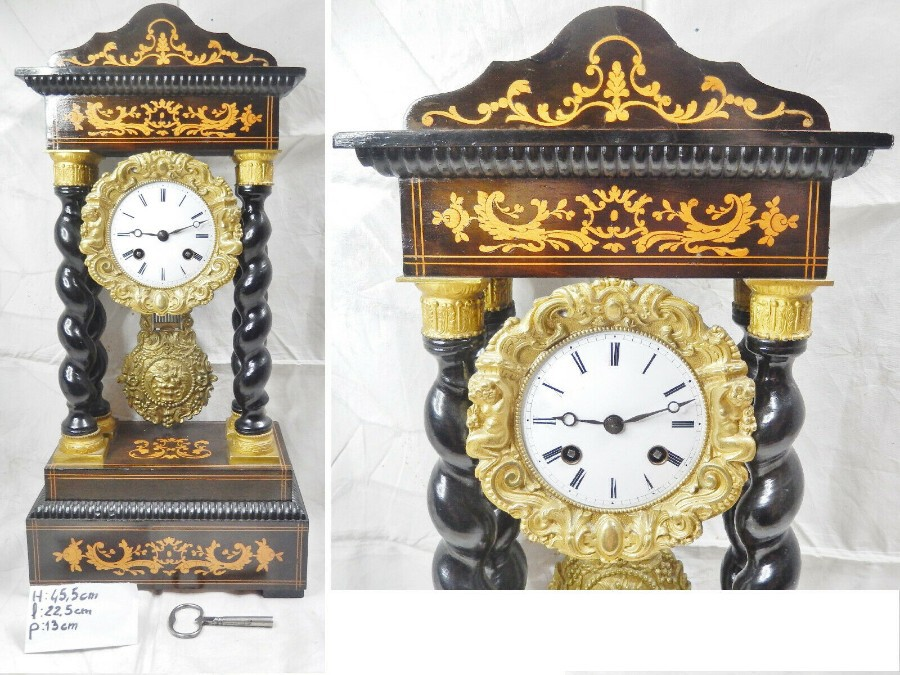 Rare NAPOLEON III twisted column Portico clock