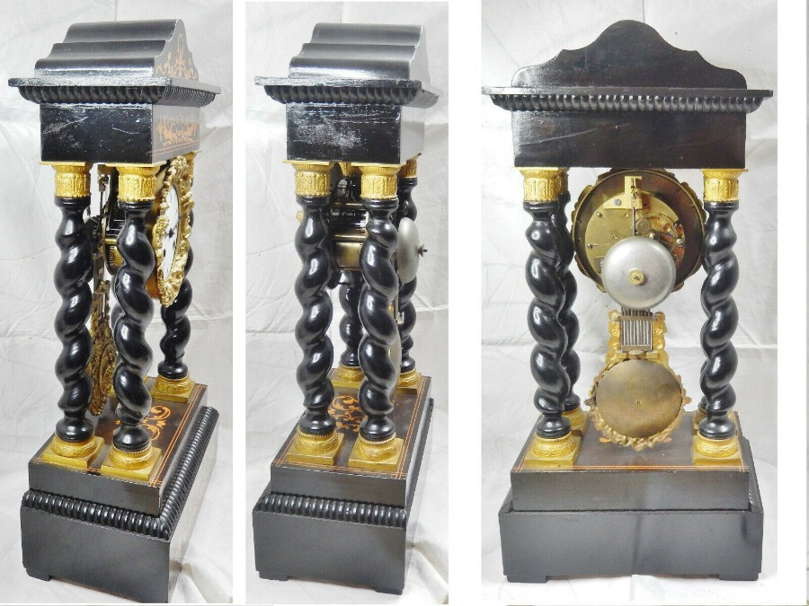 Antique Rare NAPOLEON III twisted column Portico clock