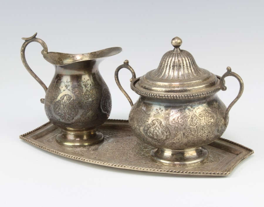 Antique Persian solid silver ewan jug, 2 handled sugar bowl with cover and tray, engraved with flowers and scrolls.