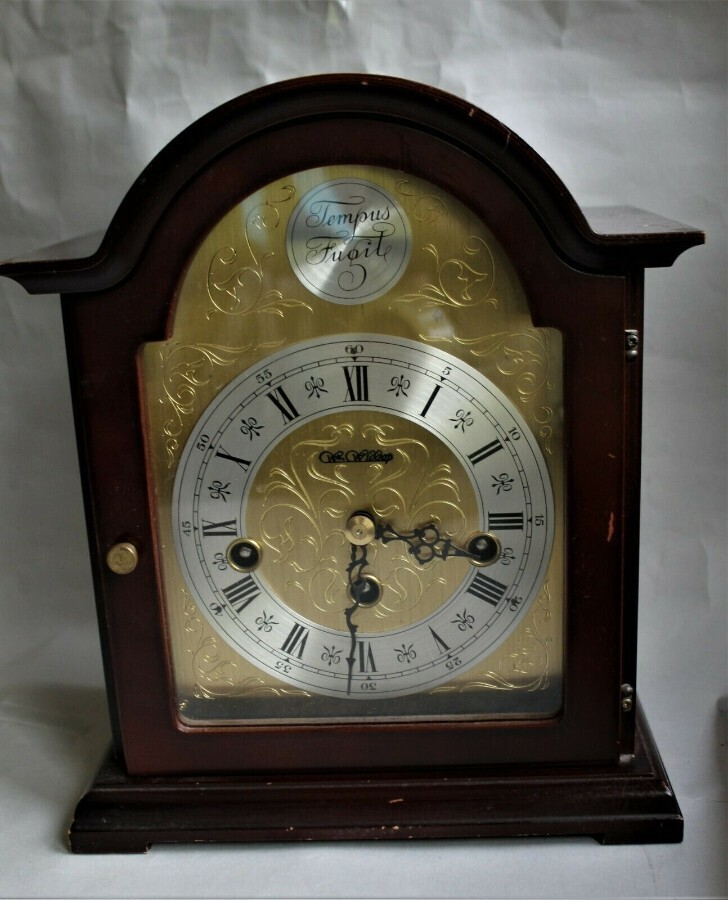Rare Franz Hermle 8 Day Westminster Chime by Wm. Widdop Mahogany Mantel Clock