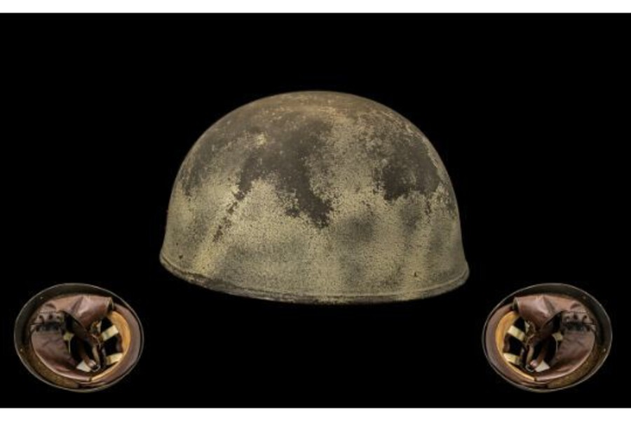 WW2 World War II British Paratrooper Helmet by BMB dated 1945 with the Cross of Lorraine 'Free French' VERY RARE ITEM