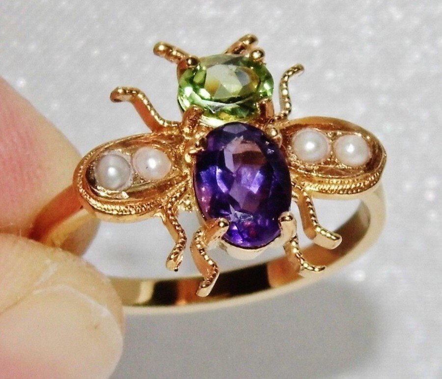 Suffragette Style  9ct Gold & Silver Amethyst Pearl & Peridot Bee Insect Ring
