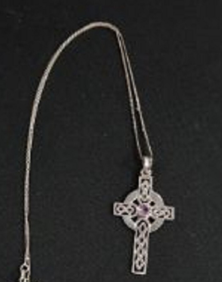Antique Silver and Amethyst Celtic Cross with Silver Chain